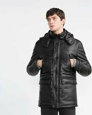 ZARA MAN PARKA FAUX LEATHER THREE QUARTER LENGHT BLACK/SMALL