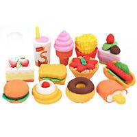 4Pcs Cake Hamburger Food Drink Fruit Rubber Eraser Set School Stationery