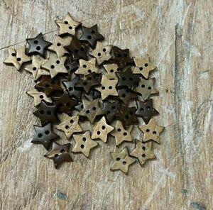 Coconut, Shell Buttons - Small 10mm Star Card Craft Scrapbook B302 x 20