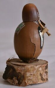 """About 4cm(1.6"""") Japanese Antique Nuts Doll """"Komuso"""""""