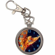 Phoenix Silver Key Ring Chain Pocket Watch