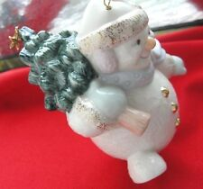Lenox Snowman with Tree & Gold Star Christmas Ornament 24k lovely