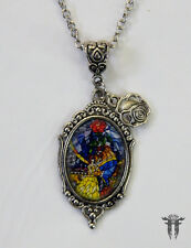 Belle & her Beast Beauty and the Beast Inspired Stained Glass Cameo Necklace