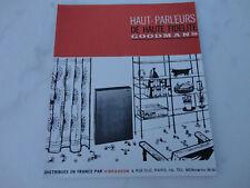 ancienne publicite Brochure haut parleur goodmans