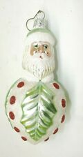 Patricia Breen Santa Holly Leaf & Berries Green & White Glass Ornament