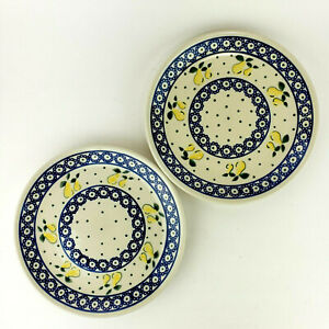 "Boleslawiec Polish Pottery Salad Plates Yellow Flowers Fruit 7.5"" Set of 2"