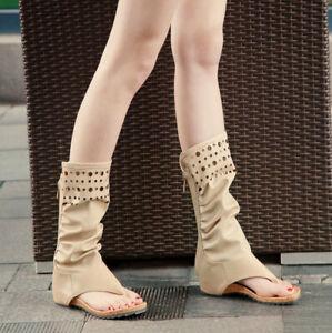 Wadenhohe Womens Sandals-Boots Mid-calf Ladys Boots Flip-Flops Sandals summer