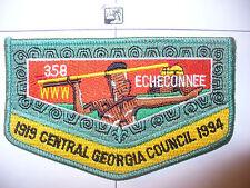 OA Echeconnee Lodge 358 S-15, 1994, 75th Ann Council,ndian W/ YEL Atlatl Flap,GA