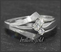 Diamant Damen 585 Gold Ring mit 0,15ct Diamanten in River D & VS, Weißgold