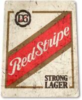 """""""Red Stripe Beer Old"""" Lager Metal Decor Art Bar Pub Man Cave Sign"""