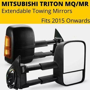 Extendable Towing Mirrors Pair Mitsubishi Triton MQ/MR 2015-20 Black Electric