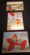 Vintage BABAR Framed Lot  En Avion Auto Et Les Ballons  Laurent de Brunhoff  Du