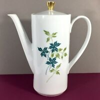 Seltmann Weiden Bavaria Coffee Tea Chocolate Pot w Lid Blue Green Leaves Vintage