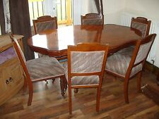 Solid Wood Dining Table with Six Oak Dining Chairs