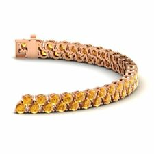 Certified 7.00 Ctw Genuine AAA Citrine 14k Solid Rose Gold Women Tennis Bracelet