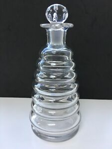 Antique Victorian C1860 Beehive Glass Decanter With Pouring Lip, Polished Po