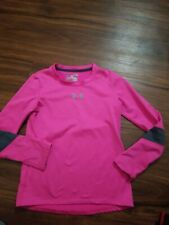 UNDER ARMOUR LONG SLEEVE FITTED SHIRT GIRLS YOUTH SMALL PINK