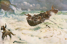 NAPIER HEMY 1886 Oil Painting HOW THE BOAT CAME HOME Vintage Art 1930 Book Print