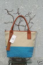Big Buddha Oversized Blue Beige Woven Braid Design Soft Tote Tassel Handbag NWT