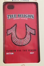 TRUE RELIGION CANDY APPLE RED HORSESHOE CRYSTALS LOGO IPHONE CASE 4/4S