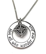 Travellers Necklace Inscribed - NOT ALL WHO WANDER ARE LOST - UK Stock