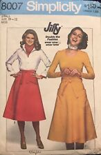 Vtg Simplicity Jiffy pattern 8007 Misses' Back-Wrap Skirts size Small (10-12)