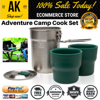 Adventure Camp Cook Set Stainless Steel Cookware W Vented Lids & 2 Cups Stanley