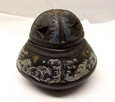 Vtg Japanese Mid-Century Clay Incense Burner Pot Koro Ornate Black Censer Japan