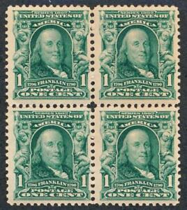 UNITED STATES 300 MINT NH, F-VF, BLOCK OF 4, VERTICAL SEPS.