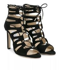 sz 7.5 Jimmy Choo Black Leather Hitch Lace Up Cage Strappy Sandal Shoes