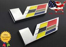 """2 Pcs/set Silver """"V"""" Lettering Emblem For Cadillac CTS ATS SLS"""