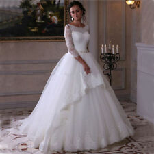 Lace Scoop Neck Ball Gown/Duchess 3/4 Sleeve Wedding Dresses