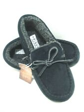 Arizona Moccasin Style Faux Fur Lined Black Slippers with Hard Sole M 13/1 New