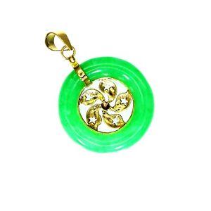 14k 14ct Yellow Gold Jade Donut Pendant