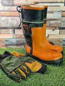 STIHL wellies Rubber Boots Chainsaw Boots Class 3 Size UK 9 EU 43 & gloves