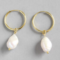 Elegant Solid 925 Sterling Silver Natural Pearl Drop Earrings for Women Jewelry