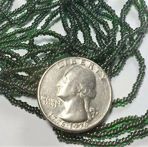 11/0 Emerald Topaz-Lined Czech Seed Beads Full Hank