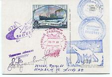 1981 URSS CCCP Exploration Mission Base Ship Polar Antarctic Cover / Card SIGNED