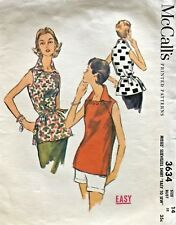 1950's VTG McCall's Misses' Sleeveless Shirt Pattern 3634 Size 14 UNCUT