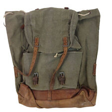 Vintage Rucksack WW2 Era Canvas and Leather Salt n Pepper Swiss Army Backpack