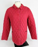 L.L. Bean Womens XL Red Quilted Jacket Coat Plaid Contrast Collar 0 BC9Y GUC