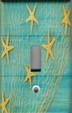 STARFISH ON BLUE WOOD WITH FISHING NET PRINT HOME WALL DECOR LIGHT SWITCH PLATE