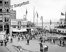 Historical Photograph Detroit Woodward Bois Blanc Bob Lo Excursion Dock 1900