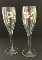 """Perrier Jouet Hand Painted Champagne Flutes Pink Gold Floral 7.5"""" Tall Set of 2"""