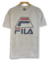 Vtg Fila Men's XL Light Gray Single Stitch Oneita Tag Cotton/Polyester T-Shirt