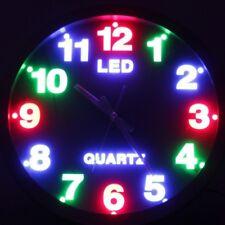OROLOGIO LED PARETE TONDO MURO DESIGN MODERNO MULTICOLORE RGB NOTTE SILENZIOSO