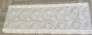 """Off White Floral Panel Lace Curtain JC Penny 62"""" wide 25.5"""" Long"""