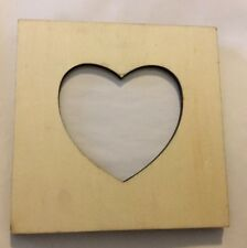 "Heart Picture Photo Frame 3"" Opening Shabby Chic Unfinished Wood Standing DIY"