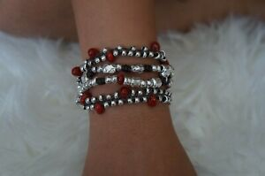 "NEW Uno De 50 Silver Red Murano Glass 4 Strand Leather Bracelet 6.5"" RP $220"