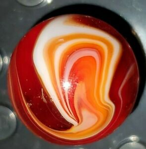"""Deep Red CAC Vintage Slag Marble 19/32"""" Road and Tunnel MINT 0203"""